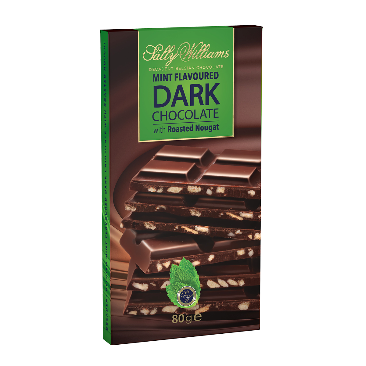 80g Mint Dark Chocolate Nougat Slab