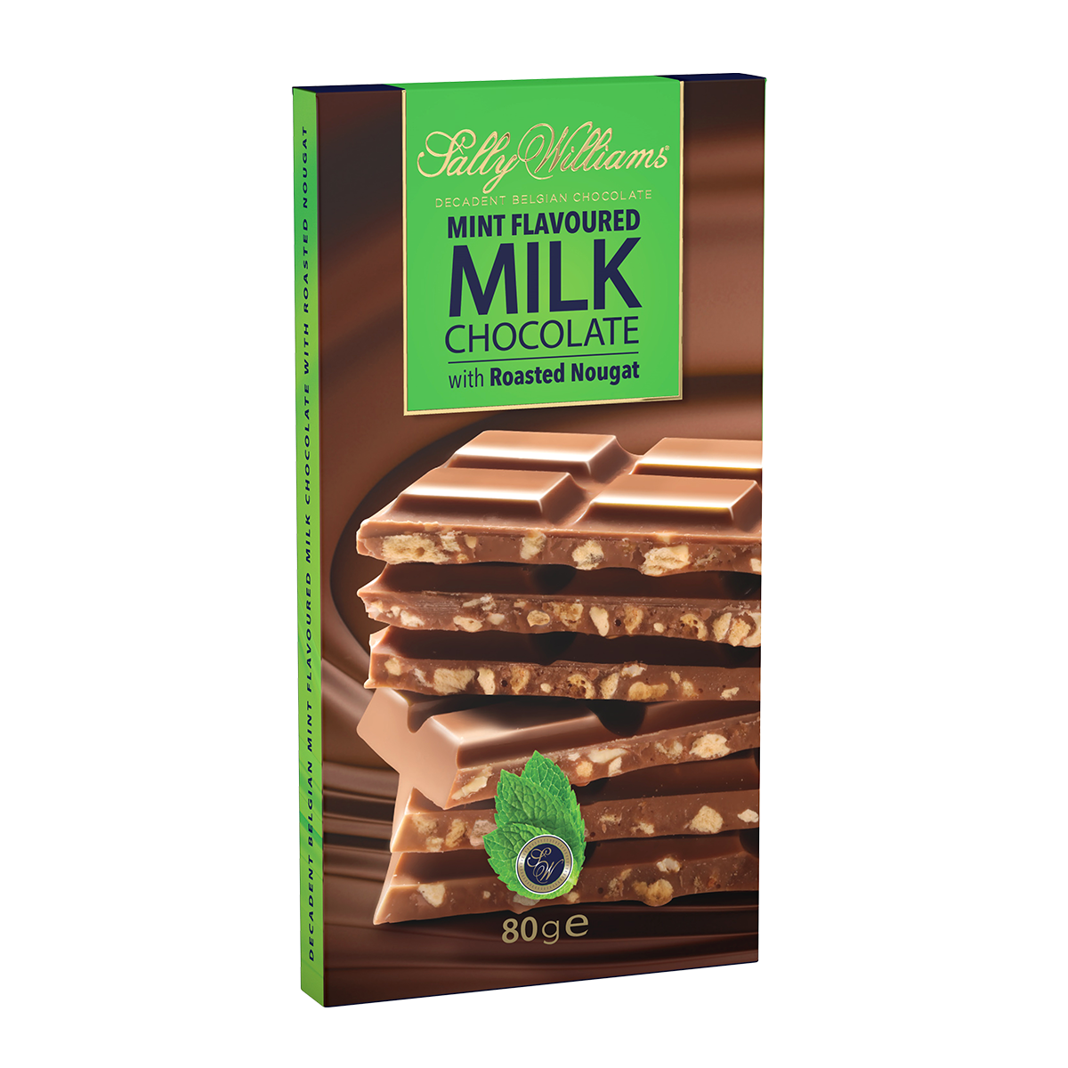 80g Mint Milk Chocolate Nougat Slab